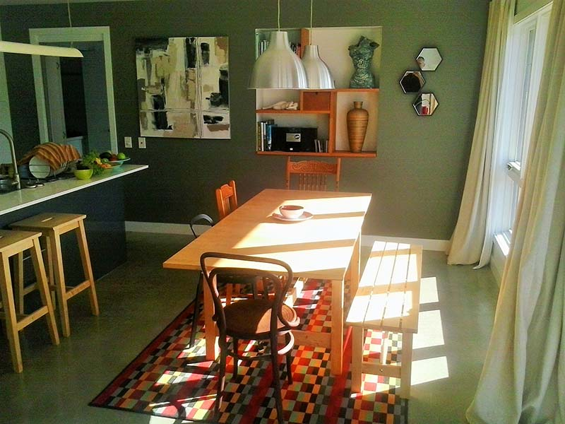 Loungeroom in Autumn with sun seeping through.